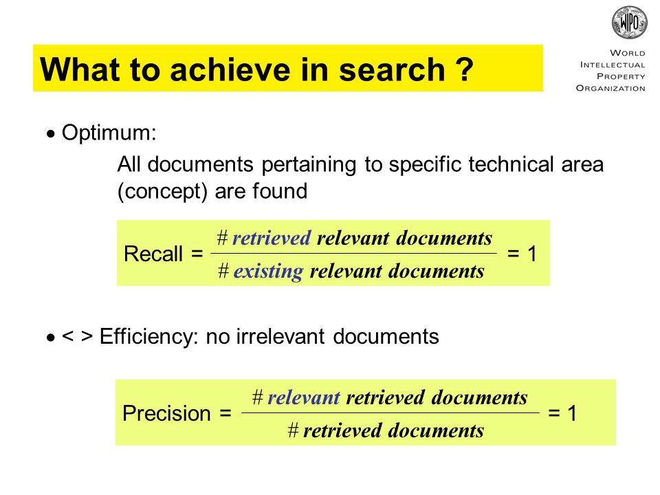Optimum: All documents pertaining to specific technical area (concept) are found What to achieve in search ? Recall = = 1 # retrieved relevant documen