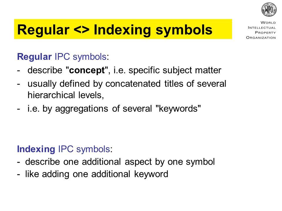 Regular <> Indexing symbols Regular IPC symbols: - describe concept , i.e.