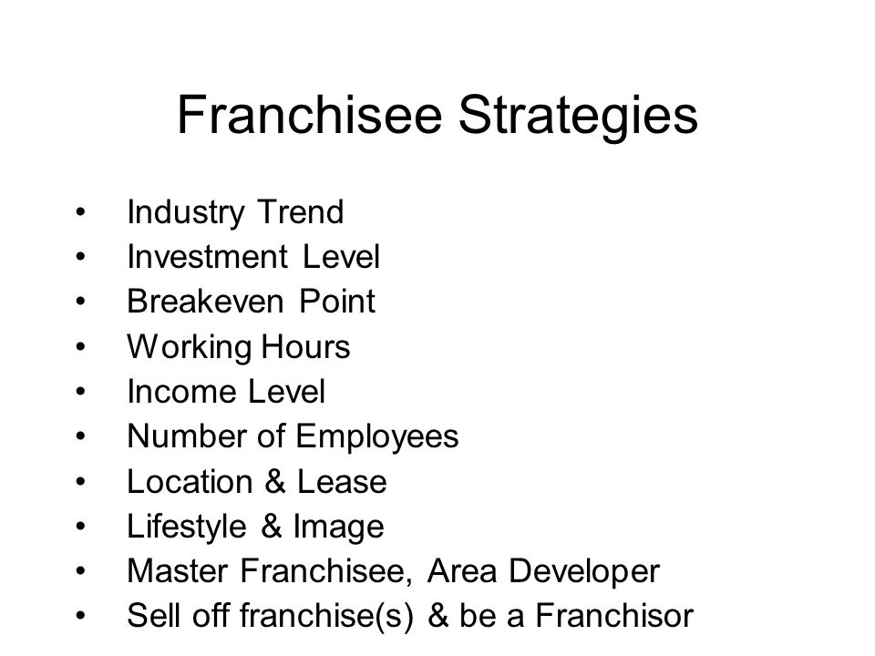 Franchisee Strategies Industry Trend Investment Level Breakeven Point Working Hours Income Level Number of Employees Location & Lease Lifestyle & Imag