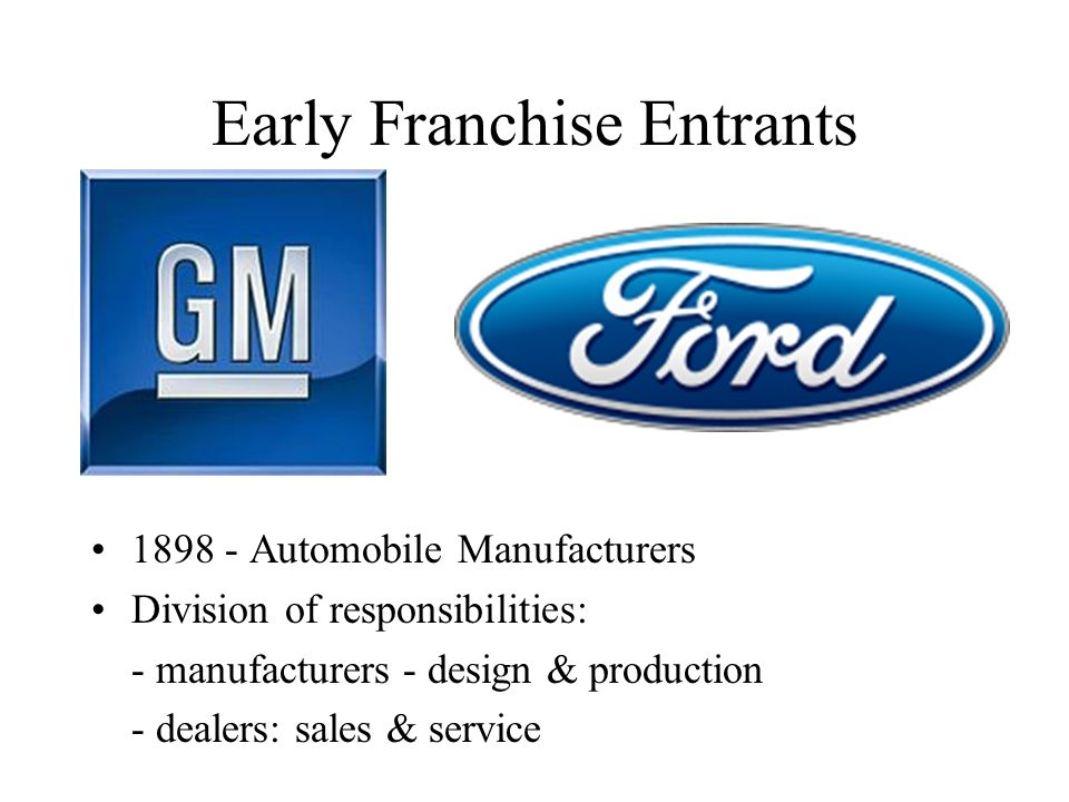 Early Franchise Entrants 1898 - Automobile Manufacturers Division of responsibilities: - manufacturers - design & production - dealers: sales & servic
