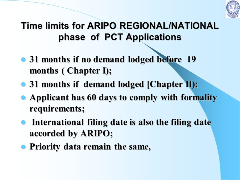 Refund of Fees by ARIPO as a PCT Receiving Office If no filing date accorded or If no filing date accorded or If application withdrawn If application
