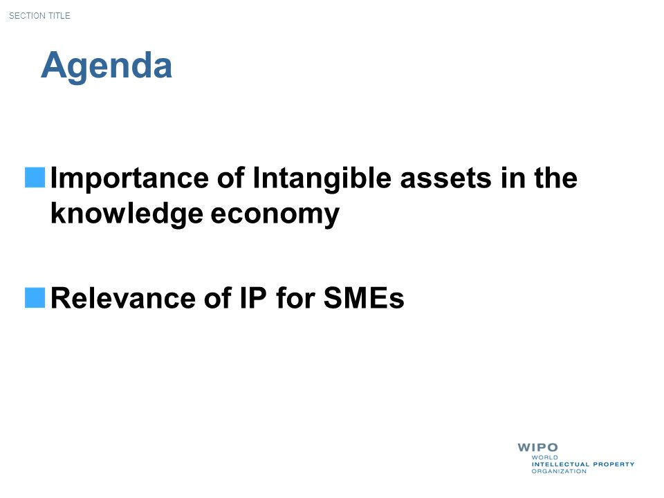 Agenda Importance of Intangible assets in the knowledge economy Relevance of IP for SMEs SECTION TITLE