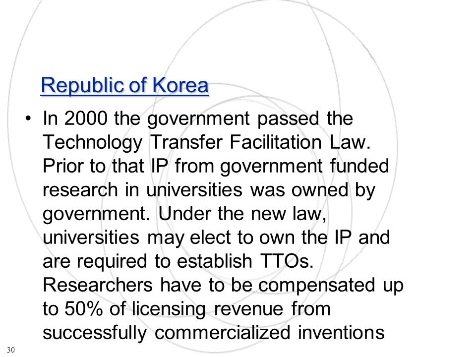 Republic of Korea In 2000 the government passed the Technology Transfer Facilitation Law.