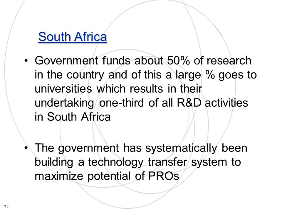 South Africa Government funds about 50% of research in the country and of this a large % goes to universities which results in their undertaking one-third of all R&D activities in South Africa The government has systematically been building a technology transfer system to maximize potential of PROs 32