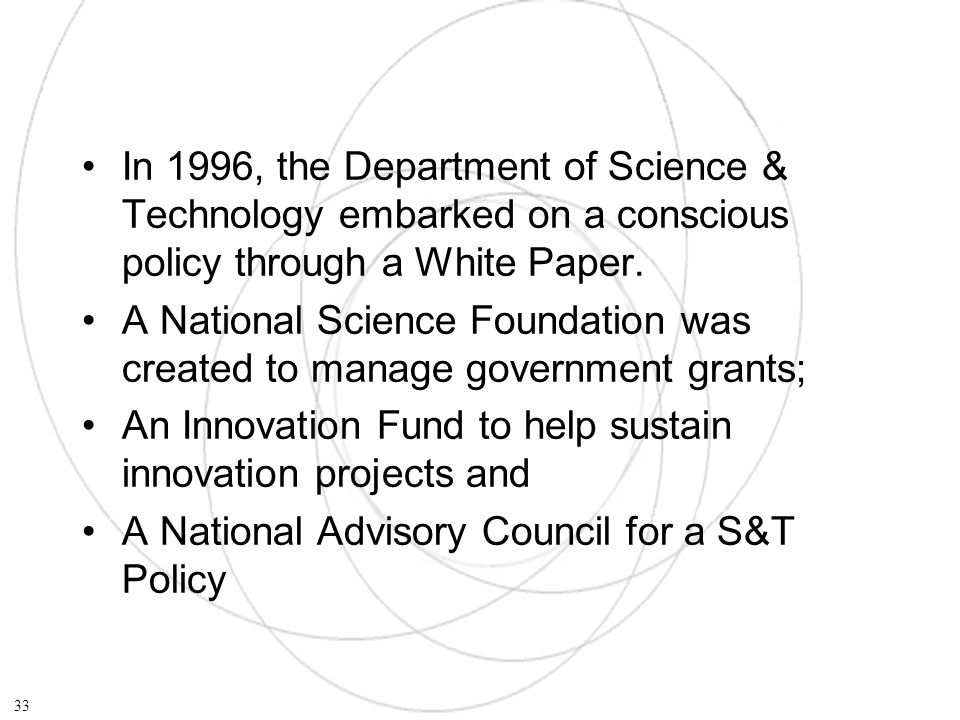 In 1996, the Department of Science & Technology embarked on a conscious policy through a White Paper.