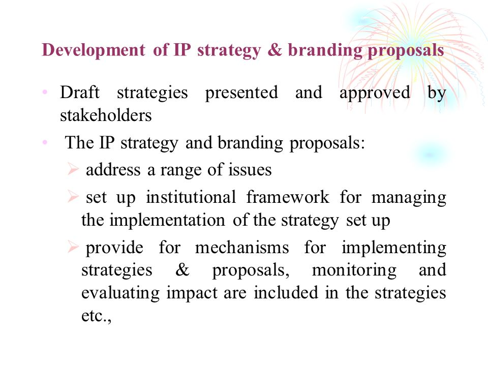 Development of IP strategy & branding proposals Draft strategies presented and approved by stakeholders The IP strategy and branding proposals: addres