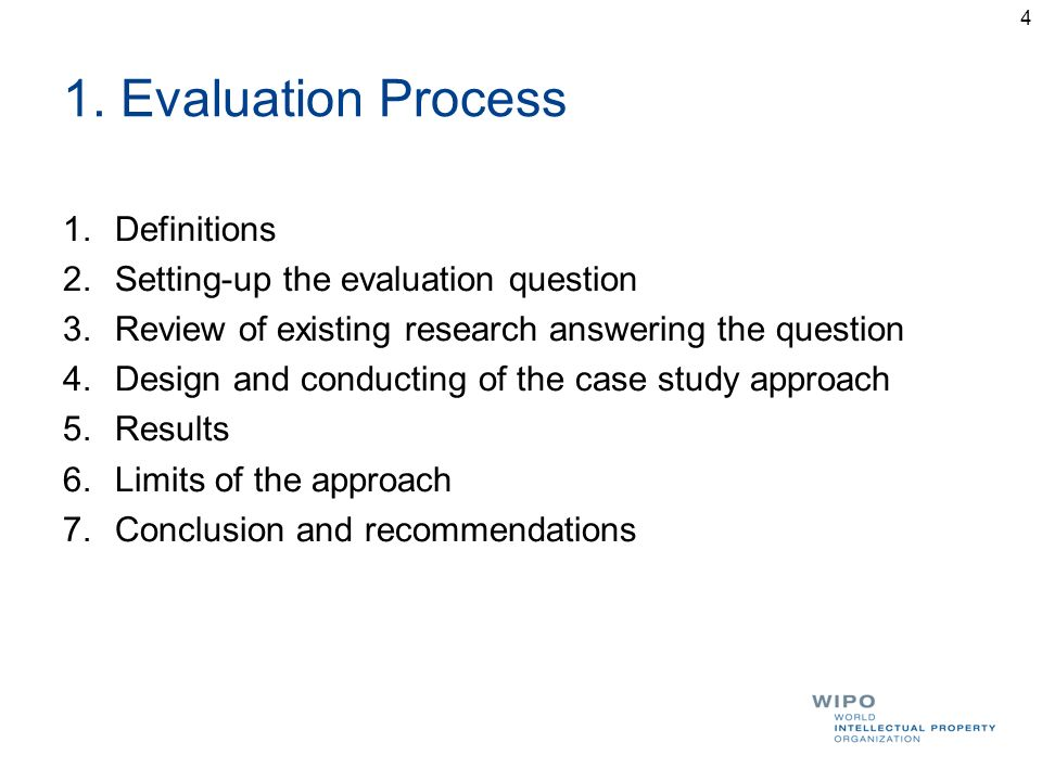 1. Evaluation Process 1.Definitions 2.Setting-up the evaluation question 3.Review of existing research answering the question 4.Design and conducting