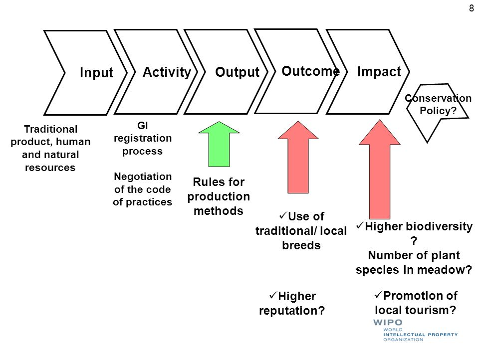 Input Activity Output Outcome Higher reputation? Impact Traditional product, human and natural resources Higher biodiversity ? Number of plant species