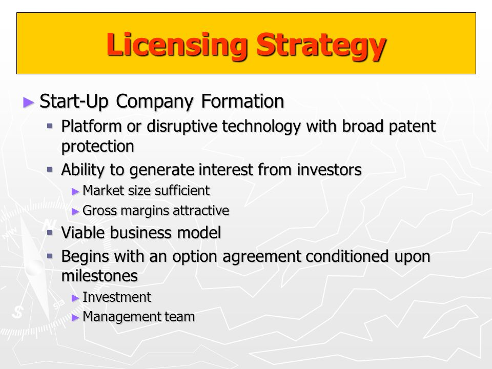 Licensing Strategy Start-Up Company Formation Start-Up Company Formation Platform or disruptive technology with broad patent protection Platform or di