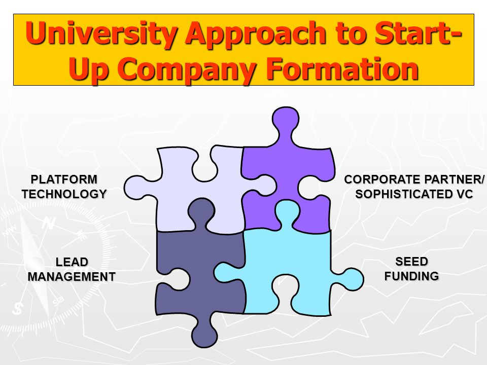 LEADMANAGEMENT SEEDFUNDING PLATFORMTECHNOLOGY CORPORATE PARTNER/ SOPHISTICATED VC University Approach to Start- Up Company Formation
