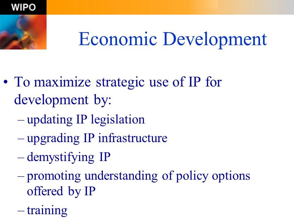 Economic Development To maximize strategic use of IP for development by: –updating IP legislation –upgrading IP infrastructure –demystifying IP –promo