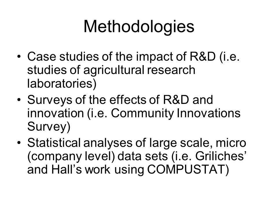Methodologies Case studies of the impact of R&D (i.e.