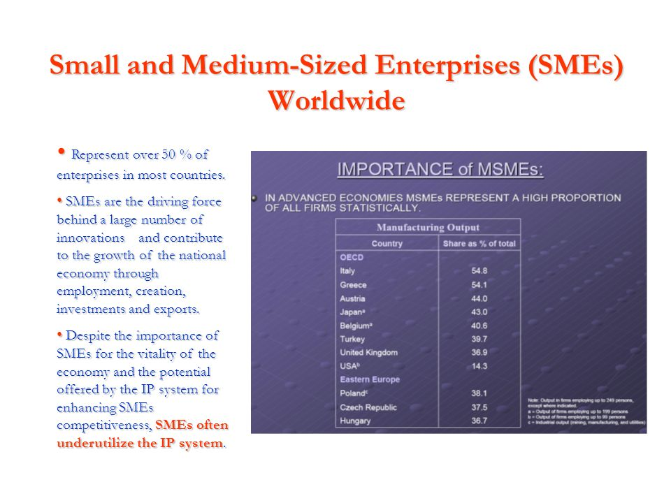 Small and Medium-Sized Enterprises (SMEs) Worldwide Represent over 50 % of enterprises in most countries. Represent over 50 % of enterprises in most c
