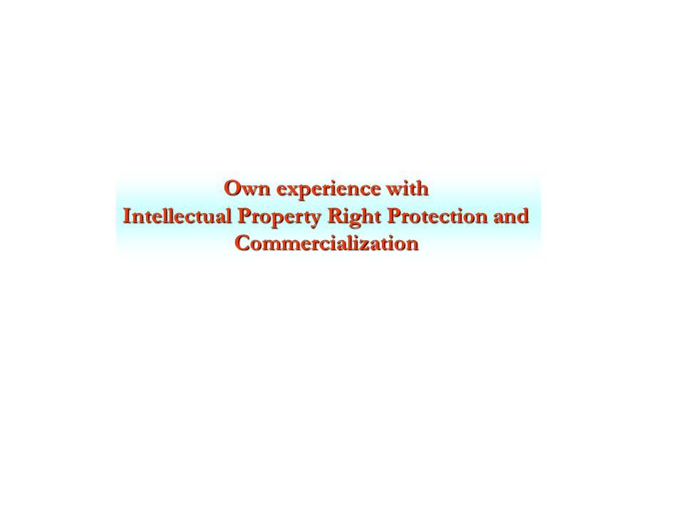 Own experience with Intellectual Property Right Protection and Commercialization