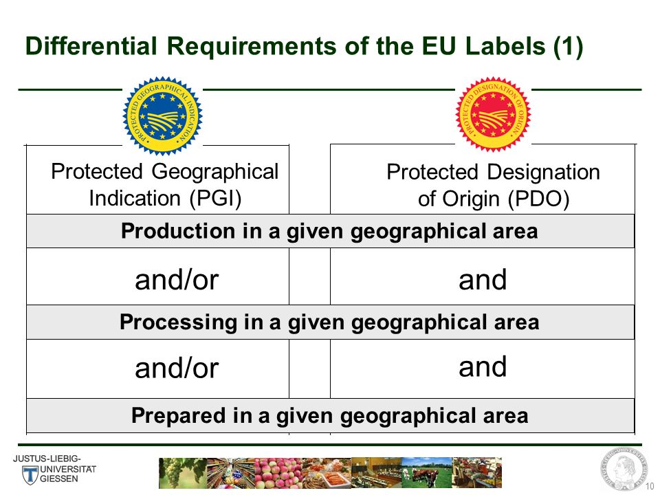 10 Differential Requirements of the EU Labels (1) Protected Geographical Indication (PGI) Protected Designation of Origin (PDO) Production in a given geographical area Processing in a given geographical area Prepared in a given geographical area and/or and
