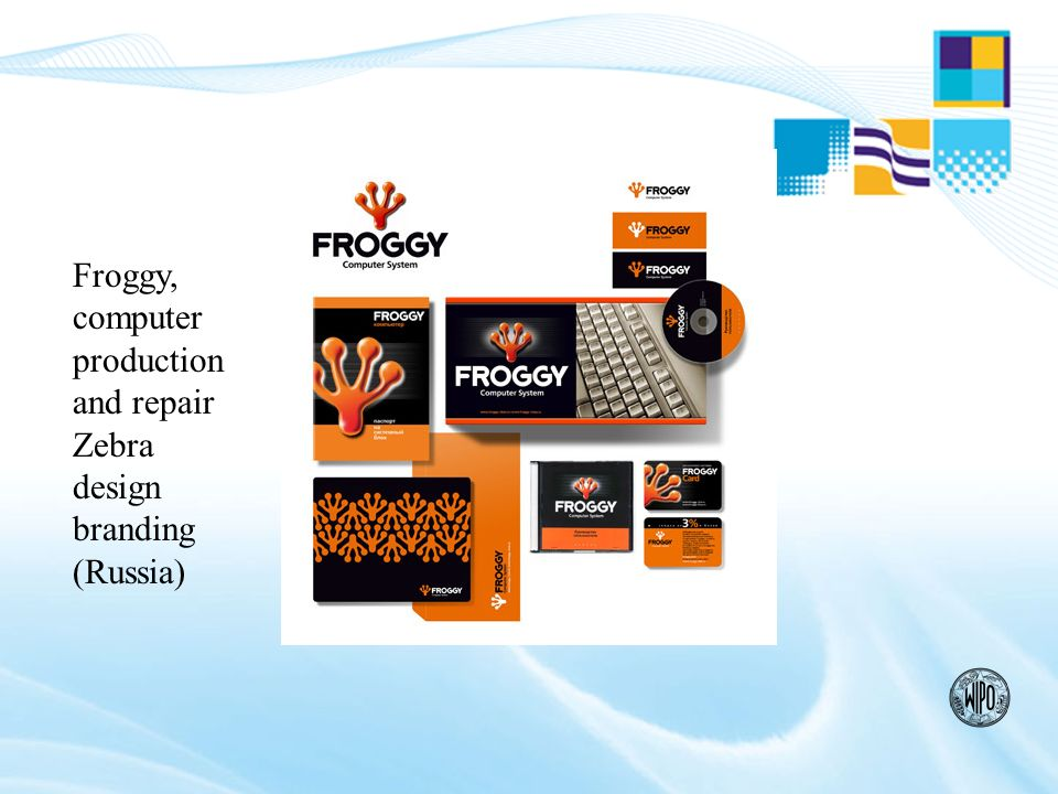 Froggy, computer production and repair Zebra design branding (Russia)