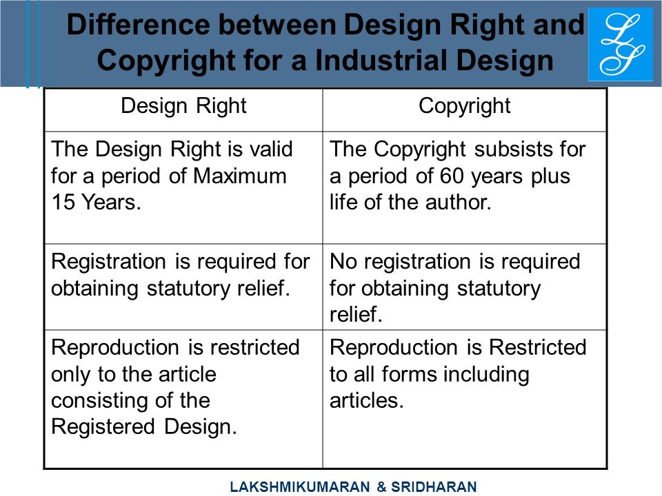 LAKSHMIKUMARAN & SRIDHARAN Difference between Design Right and Copyright for a Industrial Design Design RightCopyright The Design Right is valid for a