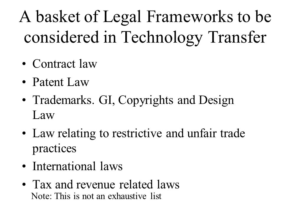 Scope of Rights ……Exclusive, Sole or Non-exclusive Improvements on the licensed technology + Definition of improvement vis-a-vis a new invention leading to a new IP +Who will own the IP?… issues related to contributions made to the development of the improvement, etc + What will the terms and conditions under which the original licensor will be able to use the improvements.