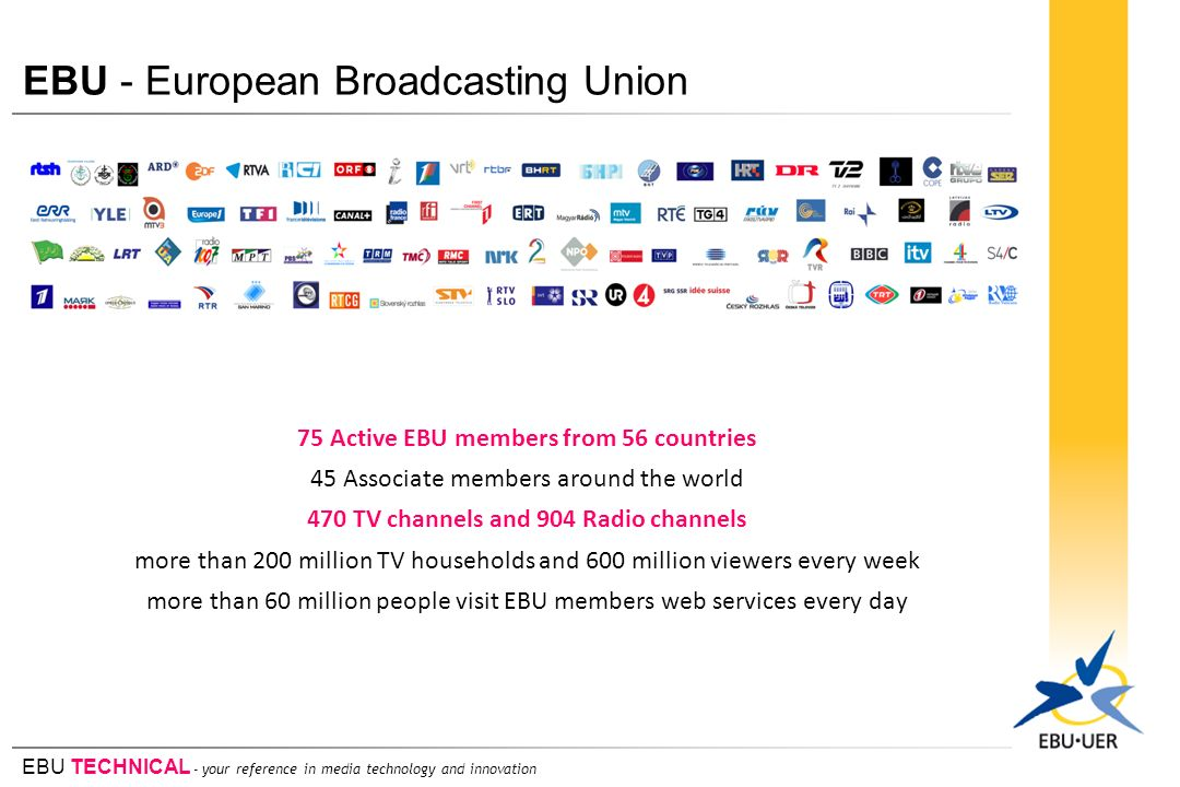 EBU TECHNICAL - your reference in media technology and innovation EBU - European Broadcasting Union 75 Active EBU members from 56 countries 45 Associa