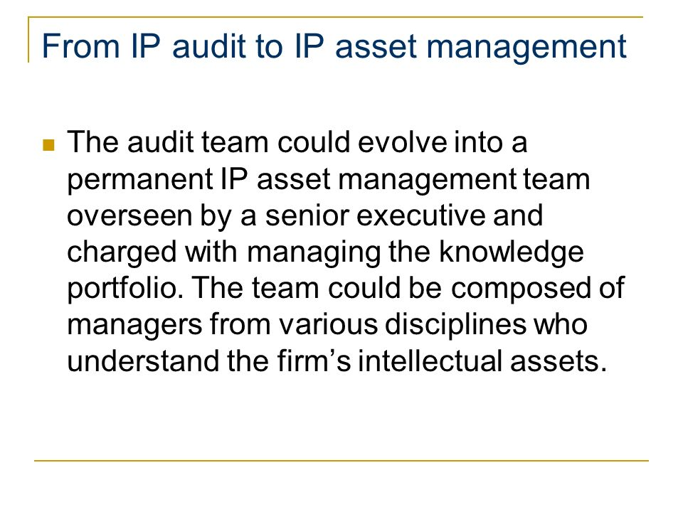 From IP audit to IP asset management The audit team could evolve into a permanent IP asset management team overseen by a senior executive and charged