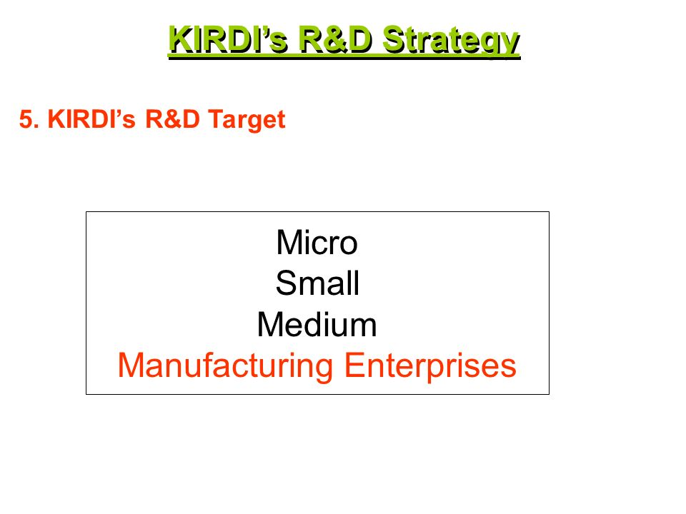 Micro Small Medium Manufacturing Enterprises 5. KIRDIs R&D Target KIRDIs R&D Strategy
