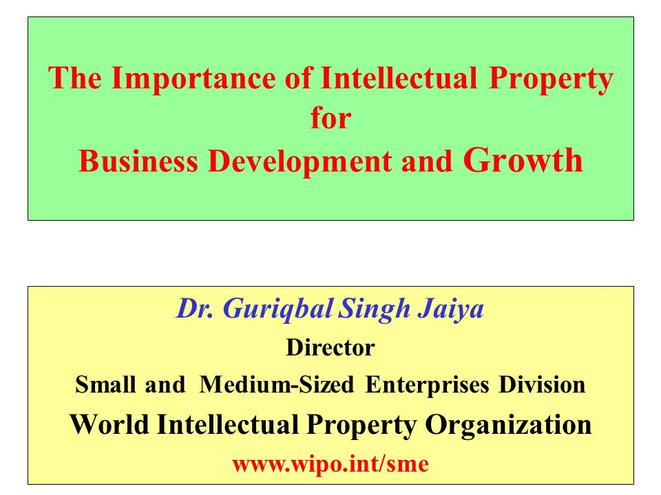 The Importance of Intellectual Property for Business Development and Growth Dr.