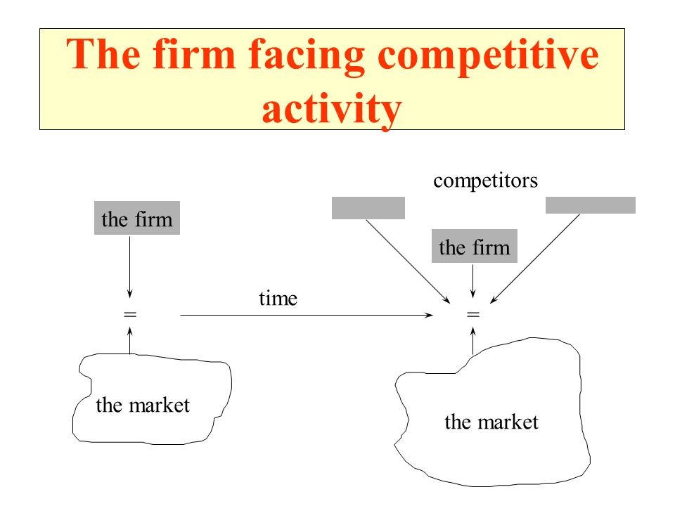 The firm facing competitive activity the firm = the market competitors the firm = the market time