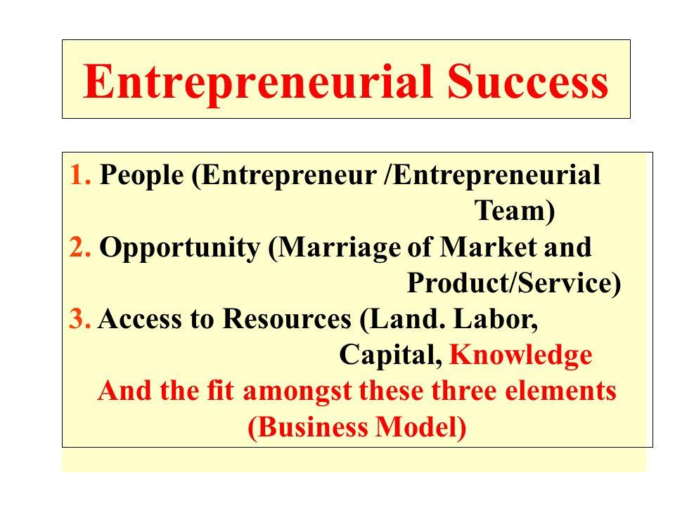 Entrepreneurial Success 1.People (Entrepreneur /Entrepreneurial Team) 2.