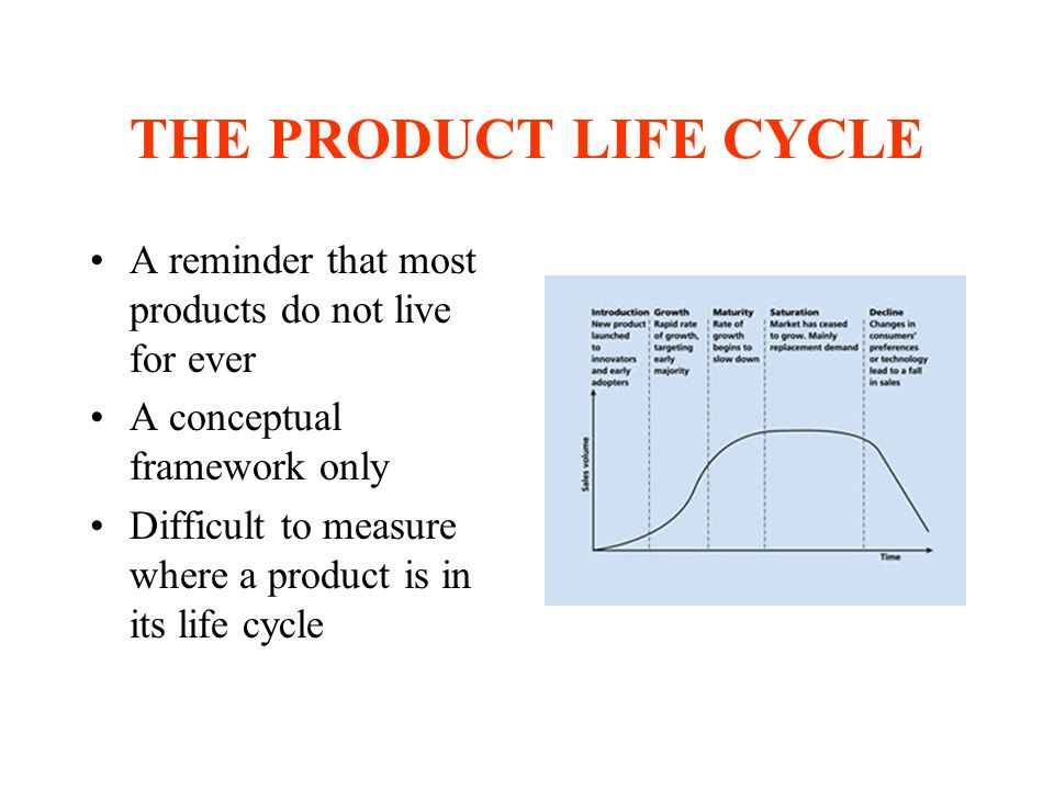 THE PRODUCT LIFE CYCLE A reminder that most products do not live for ever A conceptual framework only Difficult to measure where a product is in its life cycle