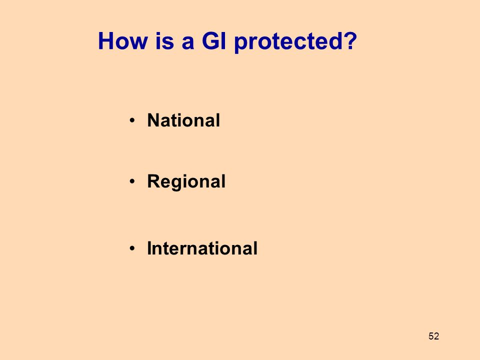 52 National Regional International How is a GI protected?