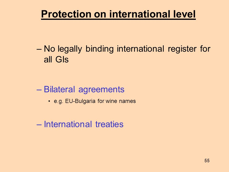 55 Protection on international level –No legally binding international register for all GIs –Bilateral agreements e.g. EU-Bulgaria for wine names –Int