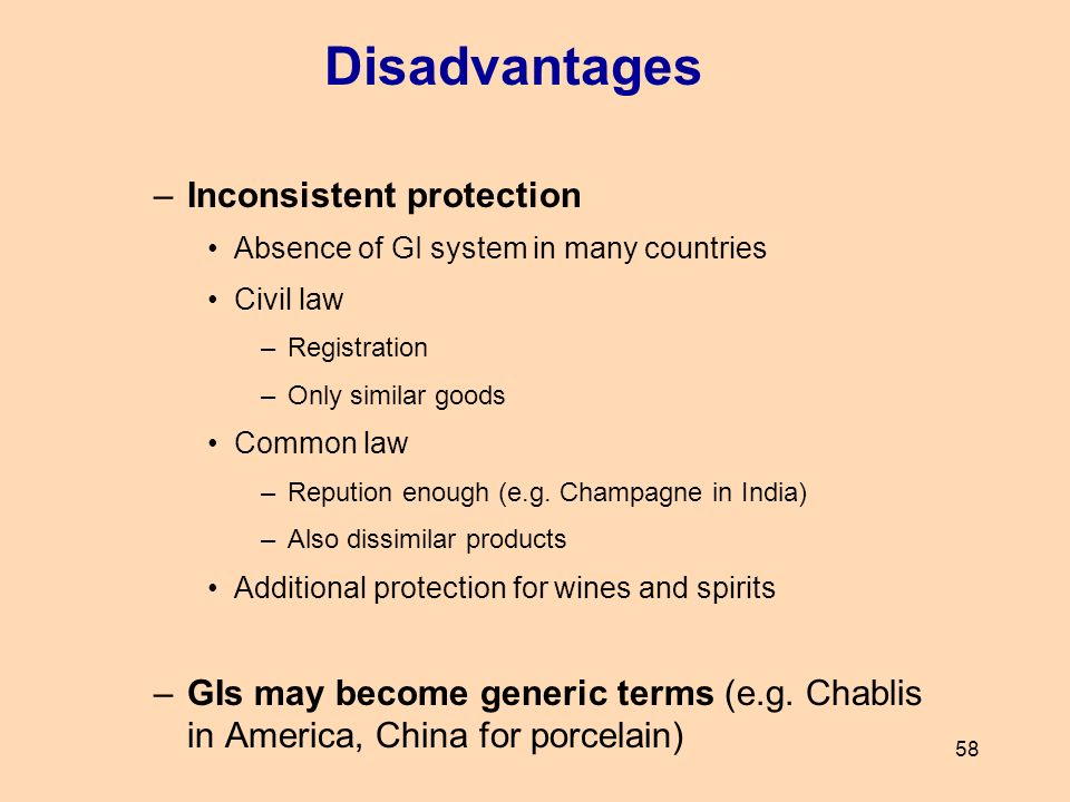 58 –Inconsistent protection Absence of GI system in many countries Civil law –Registration –Only similar goods Common law –Repution enough (e.g. Champ