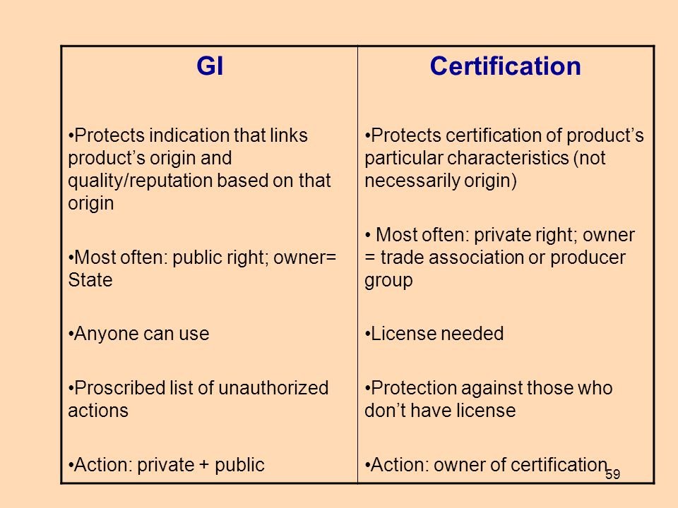 59 GI Protects indication that links products origin and quality/reputation based on that origin Most often: public right; owner= State Anyone can use