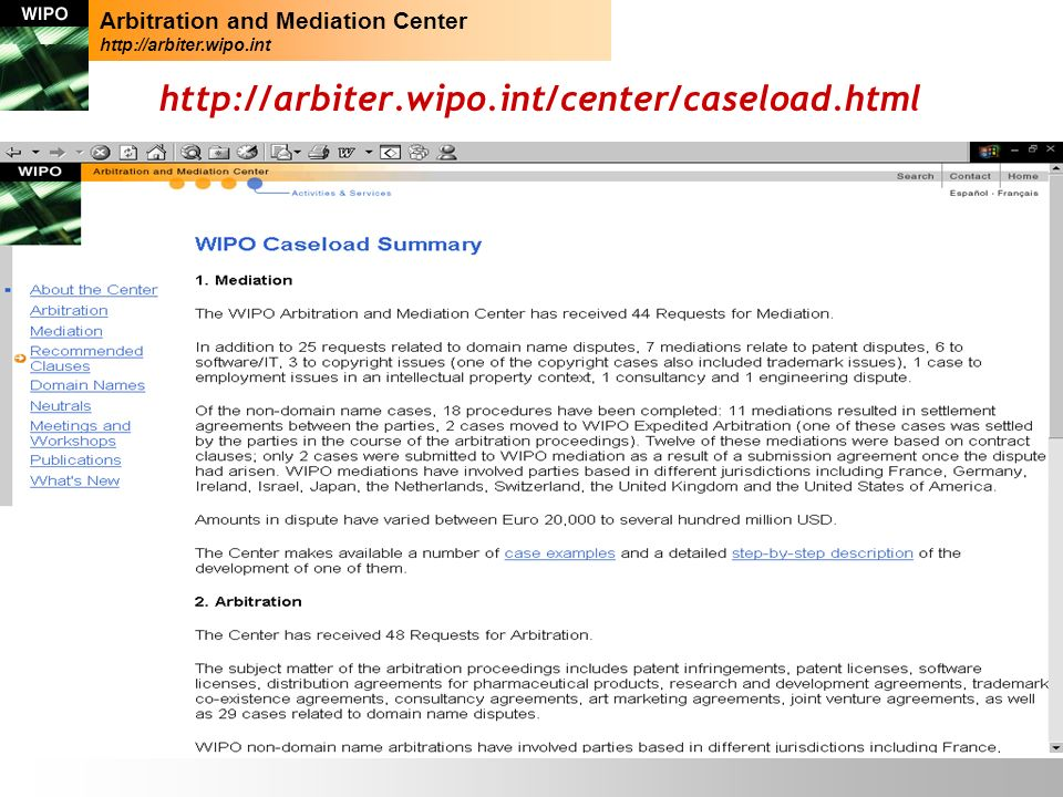 26 http://arbiter.wipo.int/center/caseload.html Arbitration and Mediation Center http://arbiter.wipo.int
