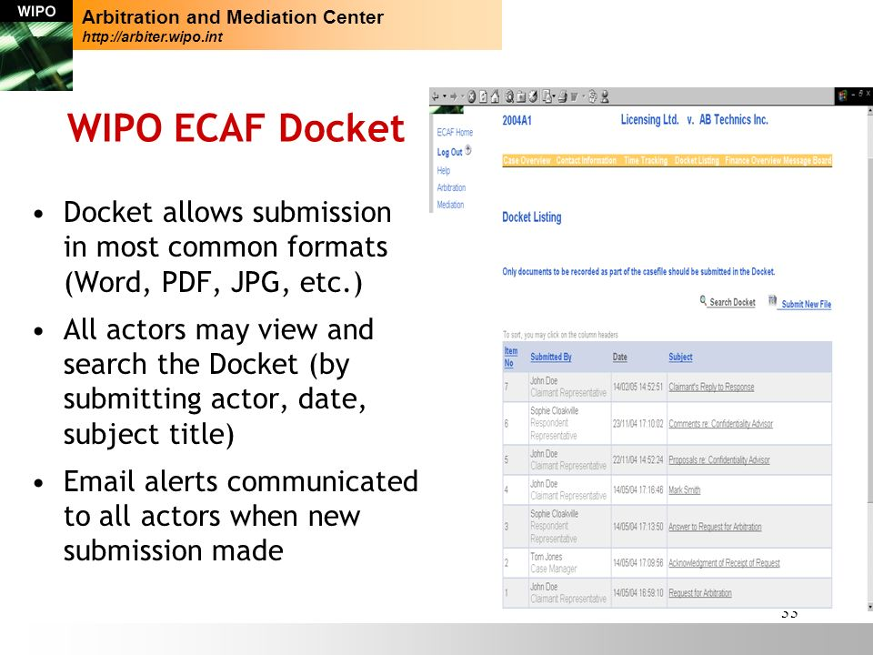 33 WIPO ECAF Docket Docket allows submission in most common formats (Word, PDF, JPG, etc.) All actors may view and search the Docket (by submitting actor, date, subject title) Email alerts communicated to all actors when new submission made Arbitration and Mediation Center http://arbiter.wipo.int