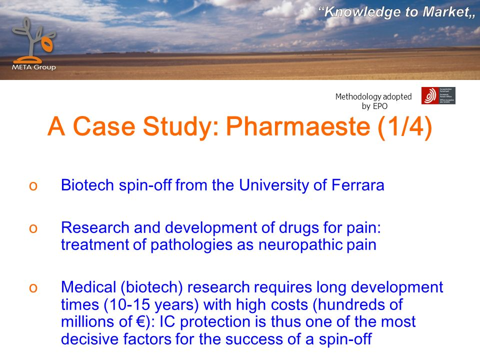 Methodology adopted by EPO A Case Study: Pharmaeste (1/4) oBiotech spin-off from the University of Ferrara oResearch and development of drugs for pain: treatment of pathologies as neuropathic pain oMedical (biotech) research requires long development times (10-15 years) with high costs (hundreds of millions of ): IC protection is thus one of the most decisive factors for the success of a spin-off