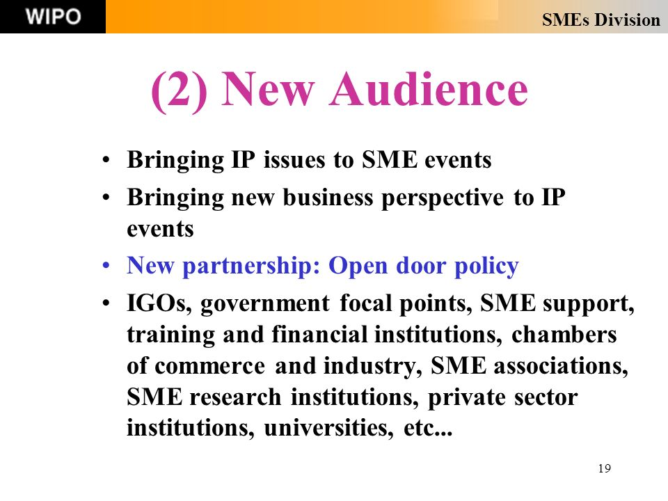 SMEs Division 19 (2) New Audience Bringing IP issues to SME events Bringing new business perspective to IP events New partnership: Open door policy IGOs, government focal points, SME support, training and financial institutions, chambers of commerce and industry, SME associations, SME research institutions, private sector institutions, universities, etc...