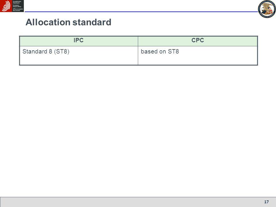 17 Allocation standard IPCCPC Standard 8 (ST8)based on ST8