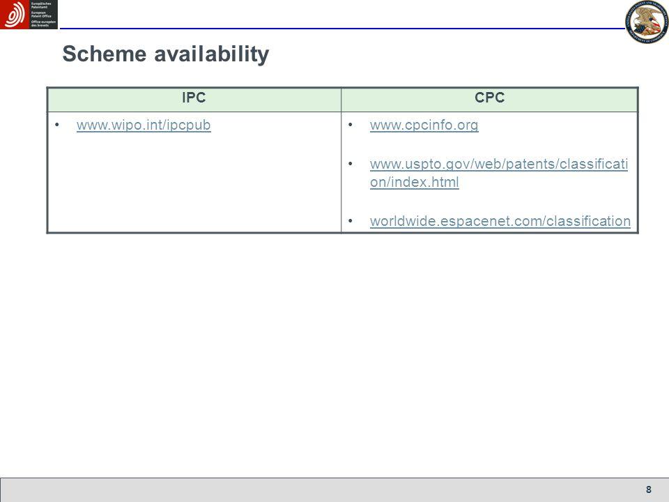 8 Scheme availability IPCCPC www.wipo.int/ipcpub www.cpcinfo.org www.uspto.gov/web/patents/classificati on/index.htmlwww.uspto.gov/web/patents/classif