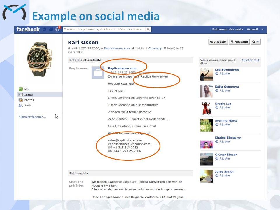 Example on social media