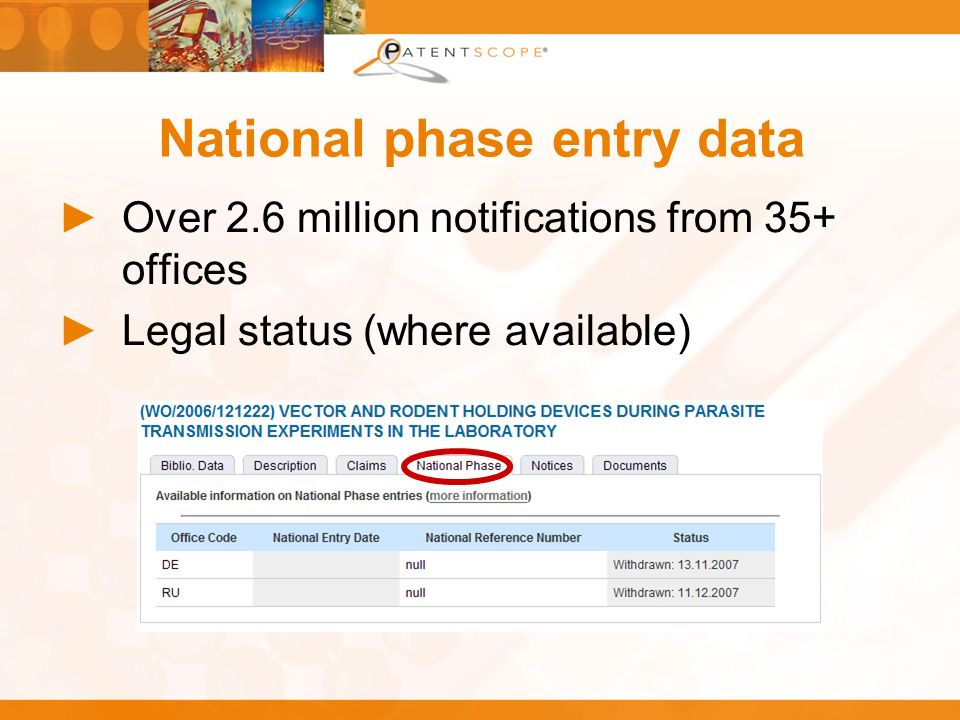 National phase entry data Over 2.6 million notifications from 35+ offices Legal status (where available)