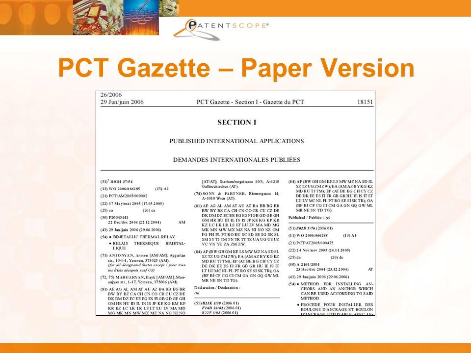 PCT Gazette – Paper Version