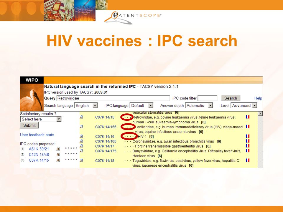 HIV vaccines : IPC search