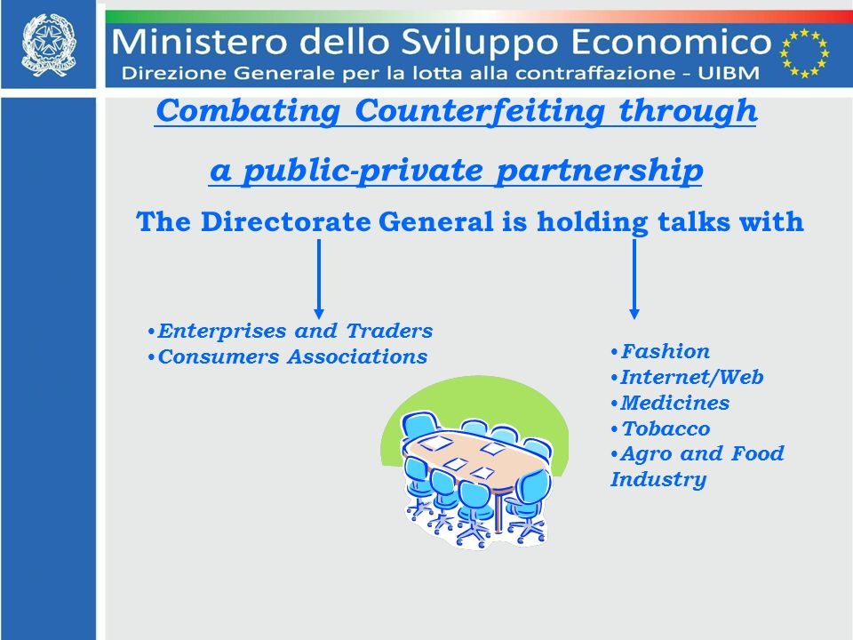 Combating Counterfeiting through a public-private partnership The Directorate General is holding talks with Enterprises and Traders Consumers Associations Fashion Internet/Web Medicines Tobacco Agro and Food Industry
