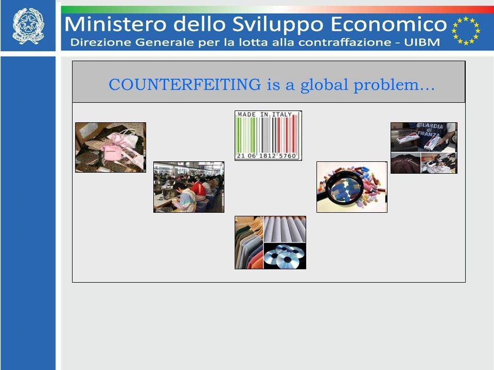 COUNTERFEITING is a global problem…