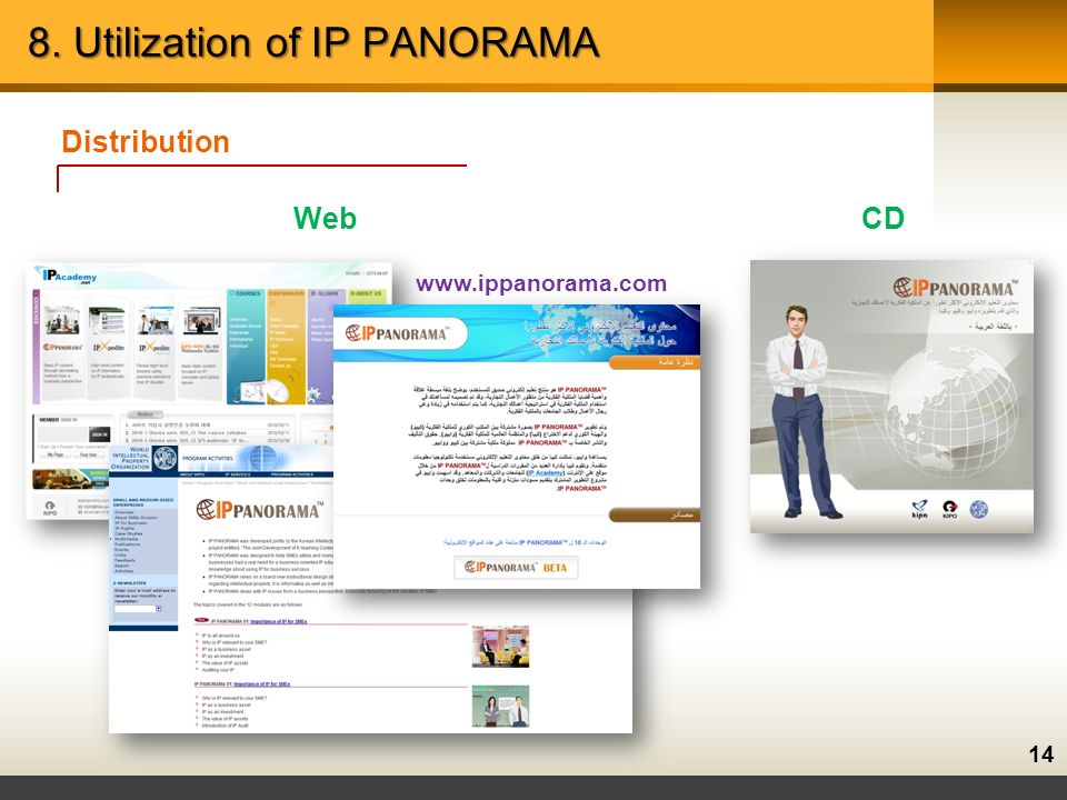 14 8. Utilization of IP PANORAMA Distribution WebCD