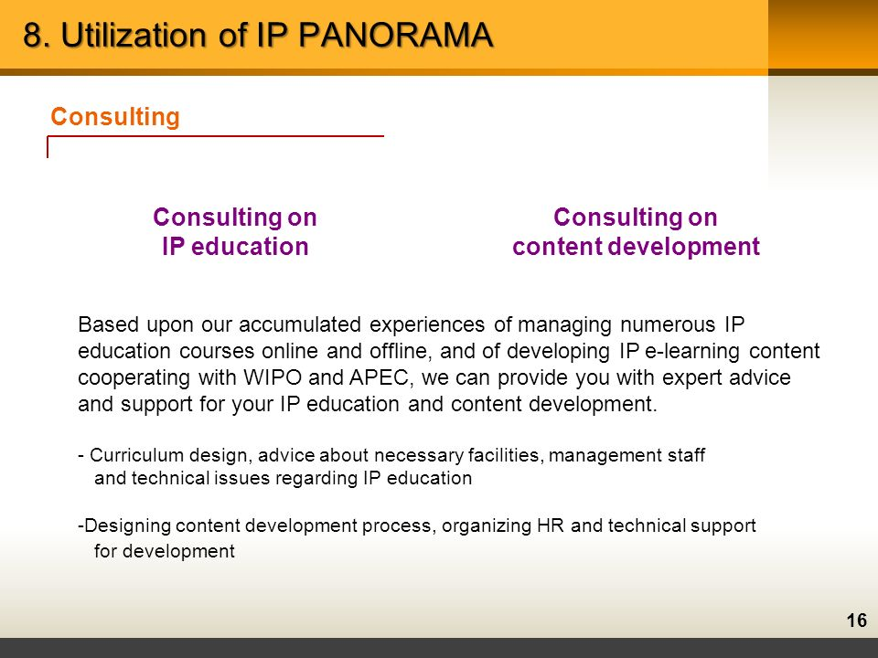 16 Consulting Consulting on IP education Consulting on content development Based upon our accumulated experiences of managing numerous IP education courses online and offline, and of developing IP e-learning content cooperating with WIPO and APEC, we can provide you with expert advice and support for your IP education and content development.