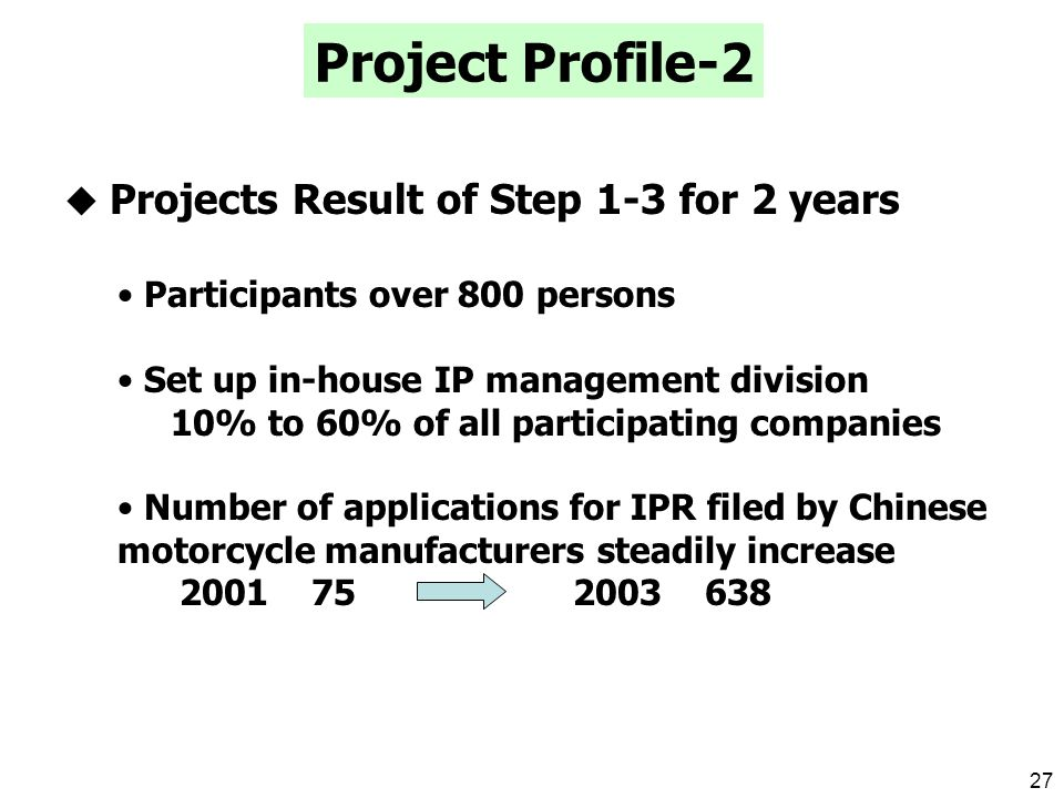26 Discussed in 3 Groups Similarity Study on the basis of recent examples Study on Patentability Results of JAMA-CAAM Motorcycle IPR Project Second Design Similarity Study Workshop in Guangzhou ( ~ 28) Reference from JAMA