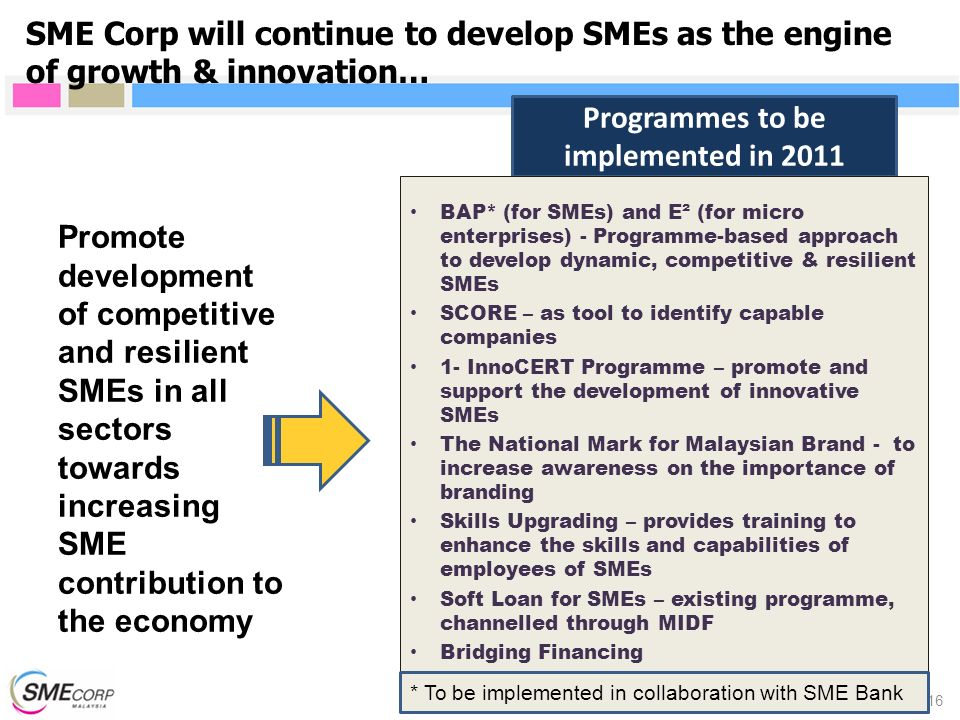 Programmes to be implemented in 2011 SME Corp will continue to develop SMEs as the engine of growth & innovation… 16 Promote development of competitiv