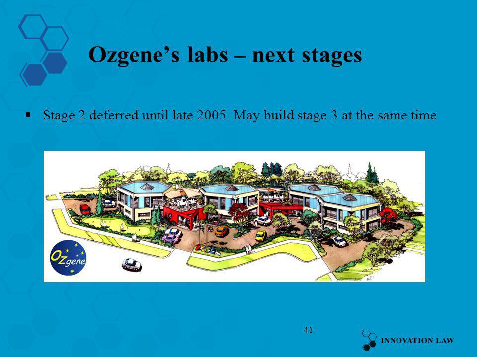 41 Ozgenes labs – next stages Stage 2 deferred until late 2005. May build stage 3 at the same time